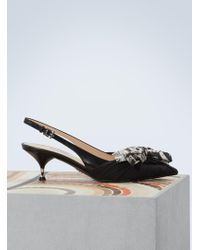 Prada - Bow Slingback Court Shoes - Lyst