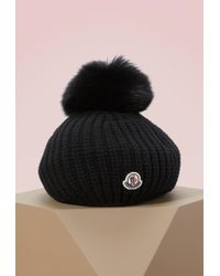 Moncler - Wool Hat With Fur Pompom - Lyst