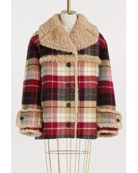 Miu Miu - Check Wool Coat - Lyst
