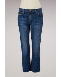 Current/Elliott - Cropped Straight Jeans - Lyst