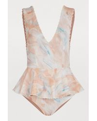Marysia Swim - Peplum Swimsuit With Dots - Lyst