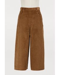 See By Chloé - Wide-leg Corduroy Cropped Pants - Lyst