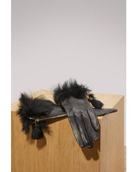 Prada - Fur Leather Gloves - Lyst