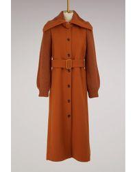 Chloé - Wool Coat Knit Sleeves - Lyst