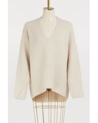 Acne Studios - Deborah Deep V-neck Knit Sweater In Beige - Lyst