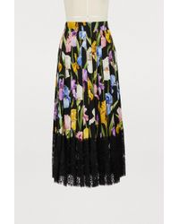 Dolce & Gabbana - Lace-trimmed Pleated Floral-print Silk-blend Midi Skirt - Lyst