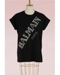 Balmain - Embroidered Logo T-shirt - Lyst