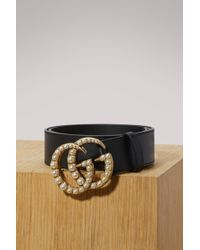 Gucci - Leather Belt With Pearl Double G - Lyst