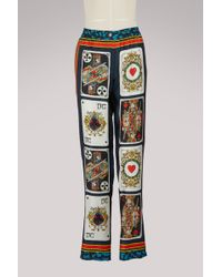 Dolce & Gabbana - Cards Silk Trousers - Lyst