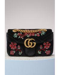 Gucci - Gg Marmont Velvet Mini Bag - Lyst