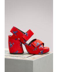 KENZO - Velvet Sandals With Heels - Lyst