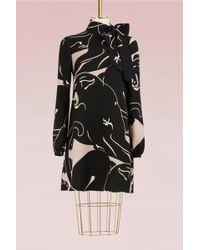 Valentino - Panther Silk Dress - Lyst