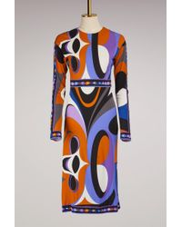 Emilio Pucci - Maschere Print Jersey Knee Length Dress - Lyst