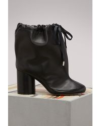 Maison Margiela - Leather Ankle Boots With Drawstring - Lyst