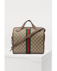9f55f2d9f Gucci Brown Stripe Vintage GG Supreme Canvas Duffle Bag in Brown - Lyst