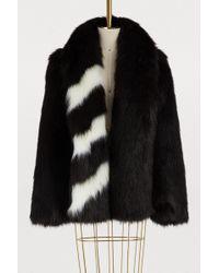 Off-White c/o Virgil Abloh - Striped Fur Coat - Lyst