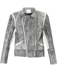 3.1 Phillip Lim - Cracked-leather Jacket - Lyst