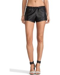 Tylie Leather Riding Shorts in Black - Lyst