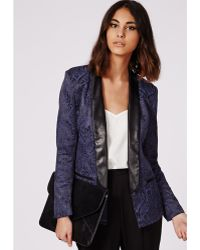 Missguided Jacquard Tailored Tuxedo Blazer Navy - Lyst