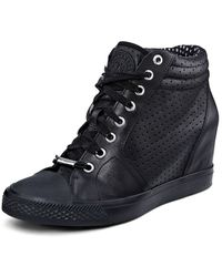 DKNY Cindy Perforated Leather Sneaker - Lyst