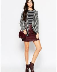 Wal-G - Striped Cardigan With Waterfall Front - Lyst