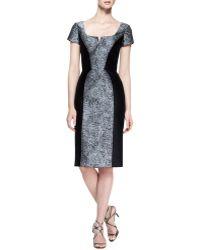 Carolina Herrera Short-sleeve Broadtail Jacquard Dress - Lyst