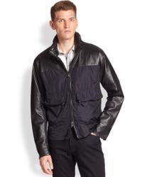 Michael Kors Leather & Nylon Bomber Jacket - Lyst