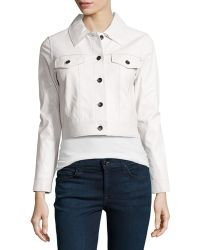 Milly Flap Pocket Leather Jacket - Lyst