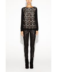 Nicole Miller Scalloped Lace Top - Lyst