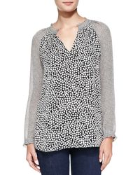 Diane Von Furstenberg Long-sleeve Rose Heart-print Top - Lyst