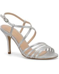 Carmen Marc Valvo - Gracie Embossed Metallic Leather Sandals - Lyst