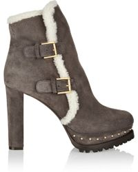 Alexander McQueen Shearlinglined Suede Platform Ankle Boots - Lyst