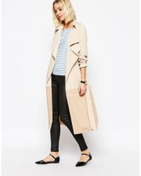 Paisie - Two-tone Lightweight Trenchcoat With Draped Collar - Tan - Lyst