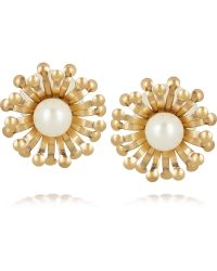 Tory Burch Gold-tone Faux Pearl Earrings - Lyst