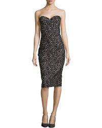 Michael Kors Strapless Lace Jacquard Sheath Dress - Lyst