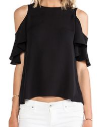 Halston Heritage Flutter Sleeve Cold Shoulder Top - Lyst