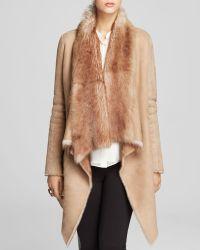 Elie Tahari Preston Lamb Shearling Drape Coat - Bloomingdale'S Exclusive - Lyst