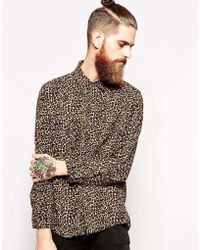 American Apparel Oversized Leopard Print Rayon Shirt - Lyst