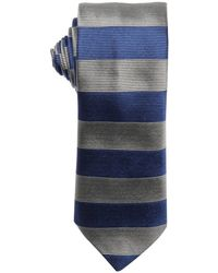 Prada Periwinkle And Grey Striped Silk Tie - Lyst