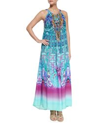 Camilla Printed Beaded Racerback Coverup Dress blue - Lyst