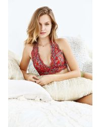 Pins And Needles - Printed Lace Halter Bra - Lyst