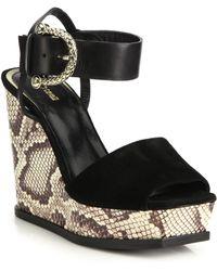 Roberto Cavalli | Elapne Suede & Snakeskin-embossed Leather Wedge Sandals | Lyst