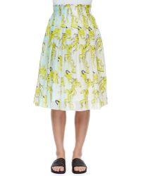 Risto - People-print Crinkled Chiffon Skirt - Lyst
