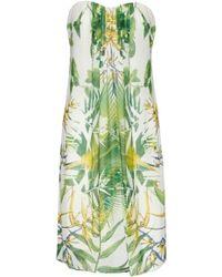 Alice + Olivia Jazz Center Drape Strapless Dress Sunburst Palm - Lyst