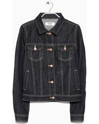 Mango Dark Denim Jacket - Lyst