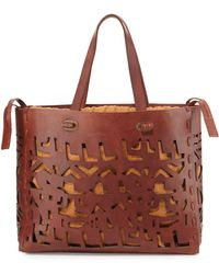 Donna Karan New York Small Laser-Cut Leather Tote - Lyst