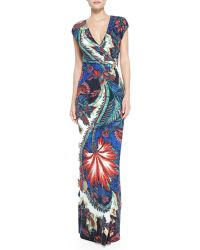 Roberto Cavalli Jewelside Wrapfront Maxi Dress - Lyst