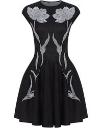 Alexander McQueen Jacquard Tulip Fit and Flare Dress - Lyst