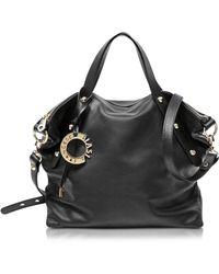 Francesco Biasia - Iris Black Leather Handbag W/shoulder Strap - Lyst