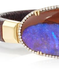 Pamela Huizenga - 18K Gold And Dark Brown Leather Bracelet With Australian Boulder Opal And Diamond Frame - Lyst